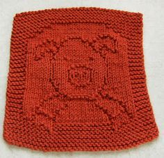 Cute pig cloth designed by Elaine Fitzpatrick from Down Cloverlane. Find the free cloth pattern here: link Knitted Washcloth Patterns, Knitted Washcloths, Dishcloth Knitting Patterns, Crochet Dishcloths, Knit Or Crochet, Knitting Stitches, Knit Patterns, Free Knitting, Clothing Patterns
