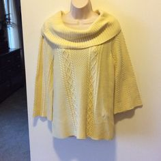 Croft & Barrow cotton shawl collar sweater Pale pale yellow long sweater, shawl collar, belled sleeves.    Very nice condition.   And I have a pale yellow hobo purse that would go perfectly with this. Croft & Barrow Sweaters Cowl & Turtlenecks