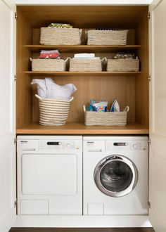 10 Fresh Design Ideas For A Dream Laundry Room Wandsworth Bespoke White Traditional Kitchen Laundry In Kitchen, Laundry Cupboard, Utility Cupboard, Laundry Nook, Laundry Closet, Small Laundry Rooms, Laundry Room Design, Cupboard Storage, Laundry In Bathroom