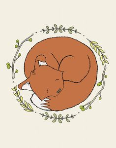 Fox Nursery Art -- Sleeping Fox -- Woodland Nursery Art -- Fox Art -- Woodland Animal Art, Children Art Print, Kids Wall Art, Fox Picture