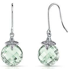 14 Karat White Gold 6.75 Carats Green Amethyst Diamond Dangle Earrings *** Check out the image by visiting the link.