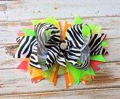 Girls hair bows, Headbands, Hair bows for girls, babies, toddlers, Neon, Zebra, Boutique hair bows, Stacked hair bow, Girls hair accessories...