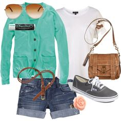 Shopping/ adventure outfit for a day!  ...  -bottoms: jean shorts w/ brown belt  -top: white and navy 3 qt. length sweater  -shoes: grey vans  -accesories: brown satchel with gold watch!