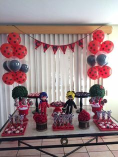 Fofurebas By Jackie: Festa da Camila- Miraculous 6th Birthday Parties, Baby Birthday, Birthday Party Decorations, Miraculous Ladybug Party, Ladybug Cakes, Second Birthday Ideas, Party Time, Balloons, Birthdays