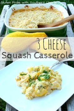 Three types of cheese make this squash casserole irresistable. A perfect side for a Trim Healthy Mama S meal. #glutenfree
