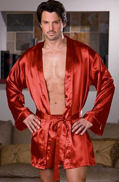 Red Charmeuse Robe and Short by Dreamgirl Mens Silk Pajamas cbc6fc53e
