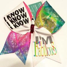 "Bows by April - I KNOW I KNOW I KNOW I'M FABULOUS Cheer Bow, $16.00 (<a href=""http://www.bowsbyapril.com/i-know-i-know-i-know-im-fabulous-cheer-bow/"" rel=""nofollow"" target=""_blank"">www.bowsbyapril.c...</a>)"