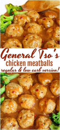 General Tso Chicken Meatballs- Regular and Low Carb Version Fan of the popular Chinese take out classic? You will love these General Tso Chicken Meatballs! Skip the take out keto low carb Low Carb Dinner Recipes, Keto Recipes, Healthy Recipes, Healthy Ground Chicken Recipes, Low Carb Chicken Recipes, Low Carb Crockpot Recipes, Free Recipes, Snack Recipes, Asian Chicken Recipes