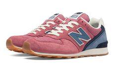 New Balance 696, Shell Pink with Blue Smoke & Navy