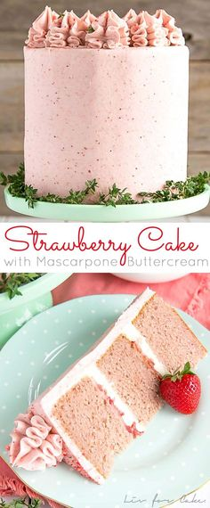 This delicious from scratch Strawberry Cake is paired with fresh strawberries and mascarpone buttercream. No artificial colors or flavours! | livforcake.com