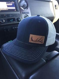 fc8363329bb Original Elk Antler leather patch sewn on a Navy Blue Richardson R112 snap  mesh back hat