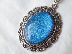 Vibrant Blue Glitter Nail Polish Pendant Necklace: 30x40mm Glass Oval in Antique Silver Star Vine Setting