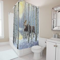 Shop Moose In Winter Season Snow Watercolor Shower Curtain created by CozyLivin. Watercolor Shower Curtain, American Houses, Old Country Stores, Works With Alexa, Traditional House, Winter Season, Furniture Decor, Decor Styles, Moose