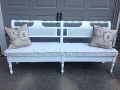 King size headboard turned shabby chic dining room bench by Kris at Furniture Consignment Center in Vermont.