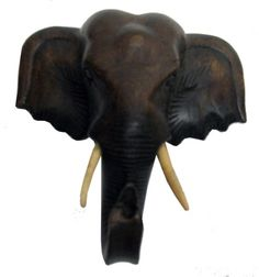 Exotic Hand Carved Wooden Elephant Head Wall Decor Art Dark Mocha Small >>> Learn more home decor by visiting the image link.