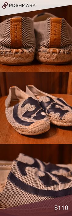 PRICE DROP Tory Burch Blue Espadrilles Shoes, 7 Tory Burch blue espadrilles rope shoes. these are amazing! leather is like a dark navy almost black but definitely still blue. Insoles are in good shape. Have some wear on bottoms but that is mostly just dirt as the bottoms are hard to clean. Womens size 7. These are originally $228 dollar shoes. Tory Burch Shoes Espadrilles