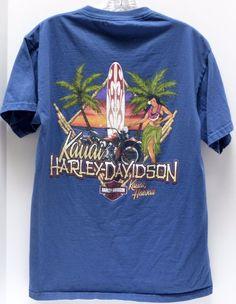 HARLEY DAVIDSON Motorcycle Kauai Hawaii Medium Blue Hula Girl Surfboard USA #HarleyDavidson #GraphicTee