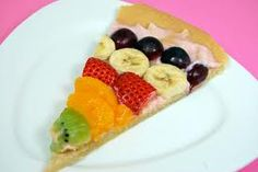 Fruity Cookie Pizza    I thought with the kids getting out of school soon, this might be fun for them to make with mom! Another idea, is to make this for a kids birthday party and write happy birthday with the fruit!