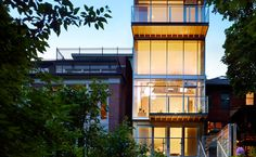 A single-family house in Toronto overlooks a forested ravine.  http://archrecord.construction.com/residential/featured_houses/2012/10/urban-ravine-house.asp#