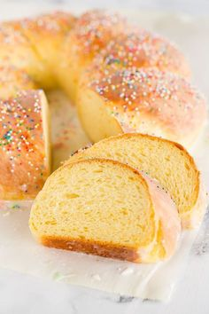 Italian Easter Bread - An old family recipe flavored with orange and anise, glazed with a sugar icing and decorated with sprinkles. Easter Bread Recipe, Easter Recipes, Dessert Recipes, Easter Desserts, Recipes Dinner, Gourmet Desserts, Easter Treats, Plated Desserts, Brunch Recipes