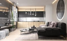 The modern design project of the apartment in the city of Zakopane, Poland. Lofts, Design Projects, Modern Design, Poland, Interior Design, Behance, Flat, Table, Furniture