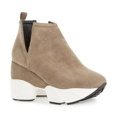 """Jeffrey Campbell 'O'Leary' Sneaker Bootie, 3 1/2"""" heel (11.160 RUB) ❤ liked on Polyvore featuring shoes, boots, ankle booties, taupe suede, chunky platform boots, chunky platform booties, platform boots, platform ankle boots and wedge boots"""