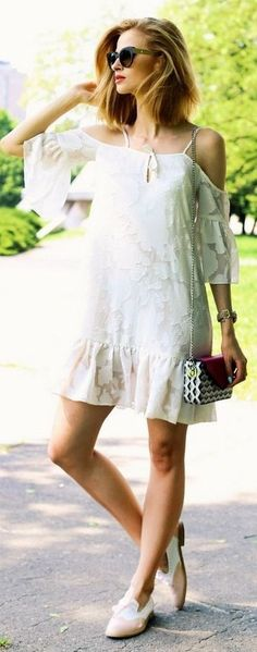 #summer #trending #outfits   Off The Shoulder Little White Dress