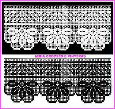 Výsledok vyhľadávania obrázkov pre dopyt miria croches e pinturas Filet Crochet, Crochet Lace Edging, Crochet Borders, Crochet Art, Crochet Doilies, Crochet Patterns, Crochet Table Runner, Crochet Tablecloth, Pixel Drawing