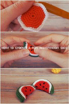 How to Crochet a Mini Watermelon Slice - Things To Crochet, Diy Abschnitt, Art Au Crochet, Crochet Diy, Crochet Food, Crochet Patterns Amigurumi, Crochet Gifts, Easter Crochet, Crochet Cupcake, Crochet Owls, Tutorial Crochet