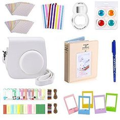 FollowSun 10 in 1 Instant Camera Accessories Kit for Fujifilm Instax Mini 8 8S 8+ 9 Include White PU Case/Photo Album/Selfie Lens/Colored Filters/Border Stickers/Corner Stickers/Hang Frames/Film Table Frames/Card Mark Pen #CameraAccessories