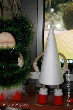 Бонсай топиарий ёлка Игрушка Новый год Валяние фильцевание Шитьё подготовка к Новому году вовсю началась   Капрон Мех Шпагат фото 9