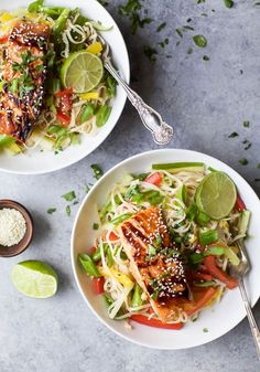 Teriyaki Salmon with Asian Noodle Salad Easy Teriyaki Salmon served on a bed of Asian Noodles made with brown rice noodles, fresh veggies and a homemade Asian Sesame Dressing! A light, simple refreshing recipe for the summer! Quick Dinner Recipes, Easy Healthy Dinners, Easy Healthy Recipes, Free Recipes, Yummy Recipes, Salmon Recipes, Seafood Recipes, Seafood Dishes, Asian Recipes