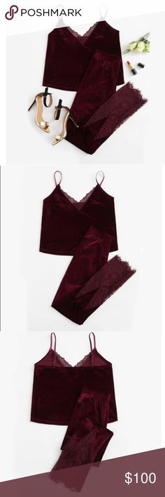 Burgundy Lace Trim Velvet Cami & Pants Pajamas Set Please note 📝 takes up to 9 days after purchase to receive item 💕❤️🙏🏻  Burgundy Lace Trim Velvet Cami & Pants Pajamas Set 2017  V Neck Spaghetti Strap Sleeveless Elegant Two-piece Pyjama  Pattern TypeSolid Sleeve Length(cm)Sleeveless CollarV-Neck LengthFull Length Material CompositionVelvet, 90% Polyester, 10% Spandex SeasonAutumn Color StyleNatural Color FabricFabric is very stretchy StyleCute, Sexy, Vacation NecklineSpaghetti…