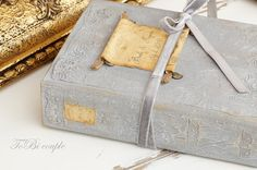 Vintage,Shabby Chic, Soft Gray, White and Gold, Guest Book or Wedding album…