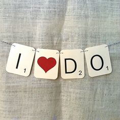 I DO Scrabble Wedding Banner by PurplePeonyCouture #engagement #photo #prop