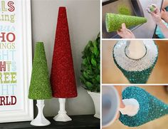 Christmas banquet: Sparkly glitter Christmas tree centerpieces. Use less expensive brown cardboard cones.