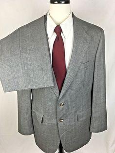 Chaps RALPH LAUREN Suit Mens 40 Gray WOOL Single Vent Blazer Jacket Pants 40R #Chaps #TwoButton