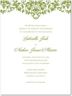 Letterpress Wedding Invitations Vibrant Damask - Front : LP Celery