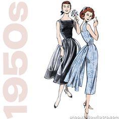 1950s Repro Vintage Sewing Pattern: Dress, Capelet and Cummerbund. Butterick 5032