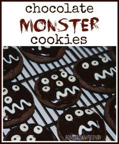 Easy to make Chocolate Monster Cookies perfect as a Halloween treat!