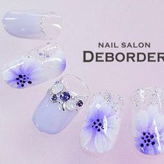 #フラワー #パーティー #パープル #ジェルネイル #ハンド #チップ #レボルデ #ネイルブック Gel Nails, Manicure, Ideas Geniales, Pretty Nails, Nail Designs, Pearl Earrings, Nail Art, Nail Stuff, Jewelry