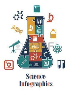 Wissenschaft Infografiken mit einem konischen Laborflasche mit zahlreichen verriegelt Ikonen wie ein Lizenzfreie Bilder