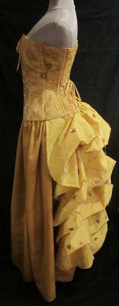 gold bustled dress by Lori Ann Costume Designs