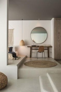 neutral colour and mirror for bedroom