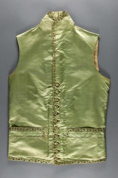 Waistcoat, England or France, 1786. Green silk satin with silk and silver thread embroidery and gold sequins.