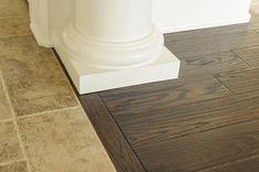 52 Ideas for wood tile floor transition cabinets Wood Tile Floors, Kitchen Flooring, Hardwood Floors, Brick Flooring, Transition Flooring, Tile To Wood Transition, Porcelain Wood Tile, Flooring Options, Flooring Ideas