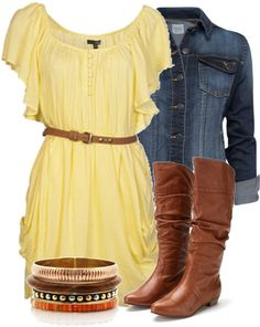 Dress, Boots and Jacket