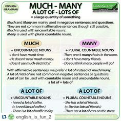 When to use Much, Many and A lot of! * be careful and never write a lot of as alot of, it's a common mistake ‪#tgit #lawofattraction #goodvibes #god #thetribe #motivation #startup #thesecret #love #happiness #peace #instaquote #meditation #quoteoftheday #lifecoaching #qofd #gratitude #wellness #viplessons #dicasdeingles #grammar #esl #learnenglish #inglesparavestibular #eslstudents #englishforlife #aulasdeingles #inglesonline #englishclass #englishteacher