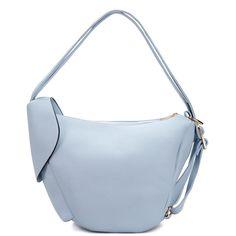 Yoins Light Blue Zipper Front Pocket Shoulder Bag (€41) via Polyvore featuring bags, handbags, shoulder bags, yoins, blue, blue backpack, light blue handbags, back pack purse, blue handbags e day pack backpack