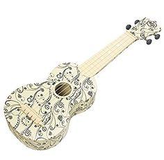UKULELE - Jumping Flea Trading Company White Swirl Soprano Ukulele Ukulele Art, Guitar, Trading Company, Junk Drawer, Fleas, Musical Instruments, Colorful, Projects